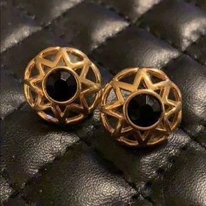 Cache Gold Onyx Star Sun Stud Earrings